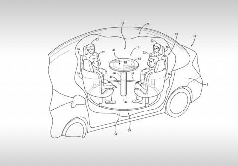 Ford запатентовал выдвижной столик сподушкой безопасности